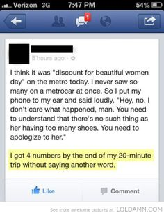 Pick up line level genius…