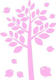 Lindo árbol color rosa y pajaritos para stiker en la pared de un dormitorio de niña