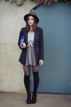 dan dressed me...: in front of a blue door.