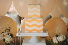 Mint and Peach Baby Shower Ideas with Chevron Details
