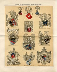 1894 Heraldry Germany Coat of Arms