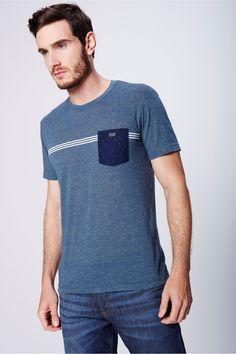 Camiseta Fit com Bolso Frontal Masculina - Damyller-smartphone c8bb5589bf16b