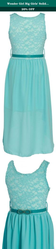 Wonder Girl Big Girls' Solid Lace Chiffon High Low Dress Set 12 Tiffany Blue. Wonder Girl Special Occasion Dresses for Girls Ages 7 to 14! Made in USA. The Wonder Girl Satisfaction Guarantee! Our Commitment to Service! Authentic Wonder Girl Dresses are always Fulfilled by Amazon , and Sold by Wonder Girl! Be wary of non authorized sellers on our listings. Remember, we are based in the United States! Items arrive in 2 days for Prime Members, and 3 to 5 business days for Standard Free...