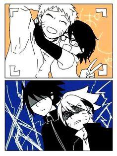Naruto, Sarada, Sasuke, and Boruto #Naruto