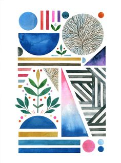 <p>Young illustrator from Berlin, Frau Grau combines sketched geometrics with organic motifs and arranges them in simple yet effective and colorful compositions. Lovely! www.behance.net/fraugrau</p>