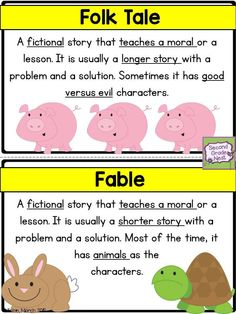 Folk Tale and Fable poster or anchor chart- RL2
