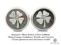 "Diamond + Black Mother of Pearl Sterling Silver Cufflinks, Rhodium plated, Lucky Model ""Bring Courage, Confidence, Wealth, and True love + Create glamorous aura and attract wealth"" *** Combine 2 Gemstone Powers to double your LUCK ***"