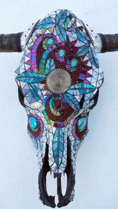 Cow Skull Mosaic/Beaded - Sharon Smithem
