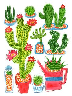Items similar to Cactus -Original Illustration Printed on watercolor paper - Garden Print on Etsy Cactus Craft, Buy Cactus, Cactus Drawing, Cactus Painting, Tumblr Tattoo, Cactus Stickers, Graphisches Design, Desert Art, Plant Art