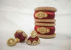 Thread Bangles Design, Thread Jewellery, Silk Thread Earrings, Handcrafted Jewelry, Gold Rings, Indian, Diy, Handmade Chain Jewelry, Handmade Jewelry