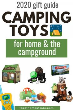 Camping toys and games, 2020 gift guide for toddlers, kids, and families that love adventure and travel. You'll find camping games, toddler toys, camp sets - perfect for Christmas, birthdays, and just for fun! #giftguide2020 #campingtoys