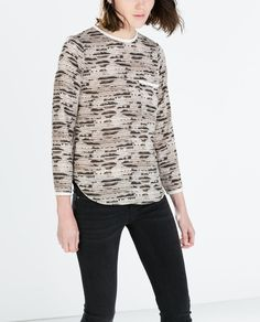CONTRAST PIPED PRINTED SHIRT | ZARA - crape material piped detail on back seam adds interest. A new love.