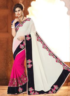 Prime Hot Pink and White Georgette Designer Saree