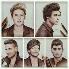 One Direction-Drawing (Makayla) One Direction Fan Art, One Direction Drawings, One Direction Memes, 0ne Direction, X Factor, Celebrity Drawings, First Love, My Love, Thing 1