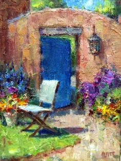 Doorway Out Of The Garden - plus white as a value, painting by artist Julie Ford Oliver