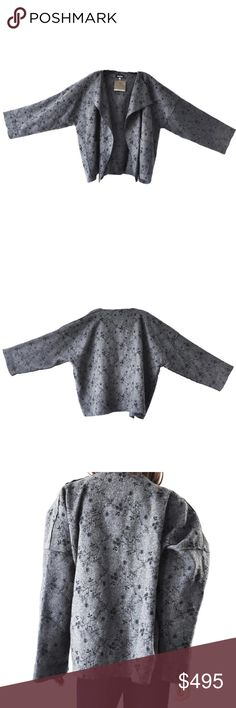 """Eskandar Mid Gray Black Embroidered Wool Cashmere ESKANDAR Small Jacket/Coat Sz 1 New with tags - Retail $1350.00 It is called the """"small jacket coat"""". Super soft! The embroidery is a true work of art. The color combination is mid-gray & black, with embroidered florals, drop shoulder, open front, and 2 pockets . 70% wool, 30% cashmere, made in England. Extraordinary!  Underarm to underarm: 30"""" (measured flat and across) Hips: 29"""" (measured flat and across) Length: 25"""" (from the top of the…"""