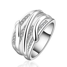 new creative high quality silver plated jewelry factory direct fashion women simple sparkling crystal CZ Ring