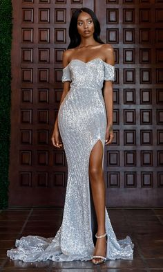 8a52896271f Best Love Silver Sequin Short Sleeve Off The Shoulder Sweetheart Neck Slit  Maxi Dress