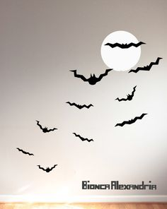 Halloween Wall Decals. Bats and moon. Full moon wall decal. Living Room decor. Wall sticker. Home decor decals. Seasonal Decals.