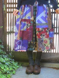 銘仙リメイク☆青紫がポップ…アンティークの着物を集めて♪75㎝丈 作品詳細 | 西垣洋子 | ハンドメイド通販 iichi(いいち)