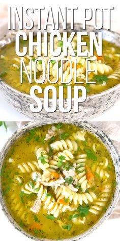 Make a comforting and delicious Instant Pot chicken noodle soup in less than 30 minutes. Flavorful and hearty loaded with chicken noodles and vegetables. It will become quickly a go-to family favorite! Vegetarian Noodle Soup, Vegan Chicken Noodle Soup, Vegetable Soup With Chicken, Chicken Noodles, Vegan Vegetarian, Instant Pot Chicken Noodle Soup Recipe, Chicken Soup Recipes, Slow Cooker Soup, Pressure Cooker Recipes