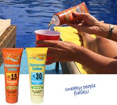 Our ahh-mazing Sunscreen Flask Set set brings a new meaning to SPF!  Sun Protection Factor? Nahh... try Sneaky Person Flask!Now, don't be mistaken.  We're not dismissing the importance of diligently applying sunscreen!  However, sometimes it's more fun (and economical!) to sneak a sip.  Great for sporting events, hotel pools, cruise ships, beach resorts, concerts, and beaches!Each sunscreen bottle flask holds 8oz of booze and includes a funnel for easy filling.  They totally look like th