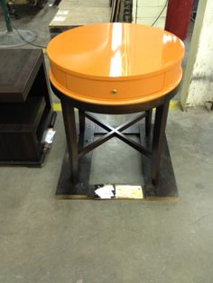 Our Tribeca Collection, 339-628, with Tangerine top and Tribeca Finish base. WOW!