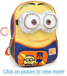e3aa074aa4dd Despicable Me 2 Big Face Minion Large School Backpack 16 Bag with 3d Eye  Pocket Minion
