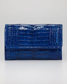 Front-Flap Crocodile Bar Clutch by Nancy Gonzalez at Neiman Marcus.