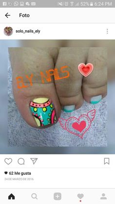 Toe Nail Art, Toe Nails, Cute Pedicure Designs, Cute Pedicures, Diana, Finger Nails, Happy, Nail Art Tutorials, Nail Polish Designs