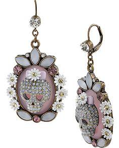 GIRLIE GRUNGE SKULL CAMEO EARRING PURPLE MULTI accessories jewelry earrings fashion