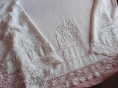 Antique French linen dowry sheet w crocheted lace hand