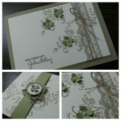 Stampin up birthday card, itty bitty petals, timeless textures, Nettiketten, perfekte Pärchen, Leinenfaden, Spitzenband Saharasand