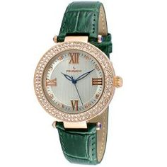 Peugeot Women's Rose Gold Crystal Bezel Green Leather Strap Watch