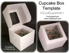 Cupcake Box Template on Craftsuprint designed by Carol Lepard – This is a great … - Paper Diy Kirigami, Printable Box, Printables, How To Make Box, Gift Cake, Diy Box, Gift Packaging, Craft Gifts, Craft Projects