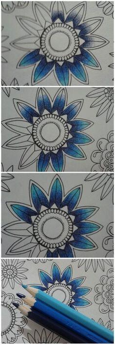 By Juliana Bernal.  Jardim Secreto - Johanna Basford.  Comecei com o azul mais escuro fazendo mais pressão no começo e menos no final até chegar no branquinho. Depois usei um azul intermediário da mesma forma porém mesclando com o escuro. No final completa com o azul claro.