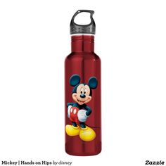 Mickey   Hands on Hips. Producto disponible en tienda Zazzle. Product available in Zazzle store. Regalos, Gifts. Link to product: http://www.zazzle.com/mickey_hands_on_hips_stainless_steel_water_bottle-256026712441255806?CMPN=shareicon&lang=en&social=true&rf=238167879144476949 #bottle #botella #disney