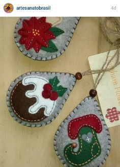 Instagram. PICTURE ONLY for inspiration. Felt stuffed & applique Christmas ornaments