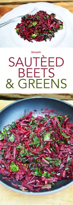 This Sauted Beets recipe is gorgeous and delicious! This dish makes use of the entire beet, from its sweet red flesh to its vitamin-rich stems. This dish is a real winner! #detox #superfoods #skinnyms