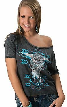 5c6a9dd8 Rock & Roll Cowgirl® Women's Grey Aztec Print with Stud Pocket Tank ...
