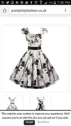 50s White Black Floral Swing Tea Dress – Pretty Kitty Fashion Swing Dress  50s 8376265d6e5a