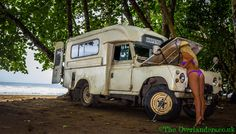 Dougal in Costa Rica. Land Rover Series III Ambulance #landrover #babe #thong