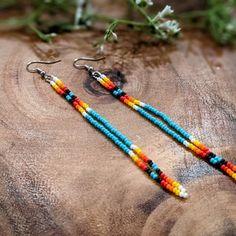 Handmade Southwestern Long Beaded Earrings Nickel-Free   Etsy