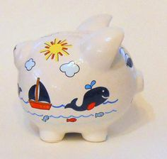 Personalized Piggy Bank Navy Blue Whales with Sailboats Fish image 4 Personalized Piggy Bank, Shells And Sand, One Stroke Painting, Blue Whale, Eeyore, Sailboats, Pink Flamingos, Whales, Color Change