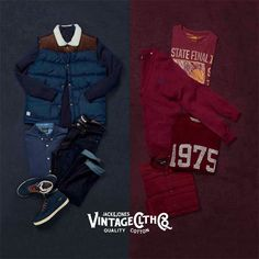 Do you prefer INDIGO or BURGUNDY? Get inspired by the classic colors of this season from JACK & JONES VINTAGE CLOTHING. #vintage #collection #burgundy #indigo #colors #autumn #winter #outfit #shoes #jacket #tee #tshirt #pants #fashion #trend #style #stylish #look #boy #men #wardrobe #clothes