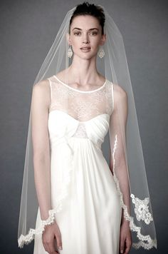 Scalloped French Alencon lace edged fingertip veil, Debra  Moreland   for BHLDN, $325.  The dress is also lovely...another option.