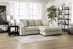 """SM9112 2 pc Canora grey Ainsley beige chenille fabric sectional sofa with chaise. This set features a chenille fabric upholstery with large arms and pillow backs. Sectional measures 99"""" x 77"""" L x 32"""" H . 23"""" seat depth, 21"""" seat height. Some assembly may be required."""