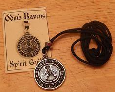 Viking Pendant Raven Rune Necklace - Warrior ODIN'S Ravens Runic Pendant Norse Amulet