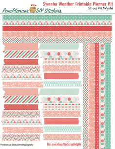 Coral & Mint Green Sweater Weather Printable Planner Kit includes 5 PDFs PACKED with over 300 Stickers for Erin Condren or Happy Planner, or