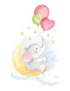 Elefante dos desenhos animados com balão... | Premium Vector #Freepik #vector #aquarela #bebe #projeto #nuvem